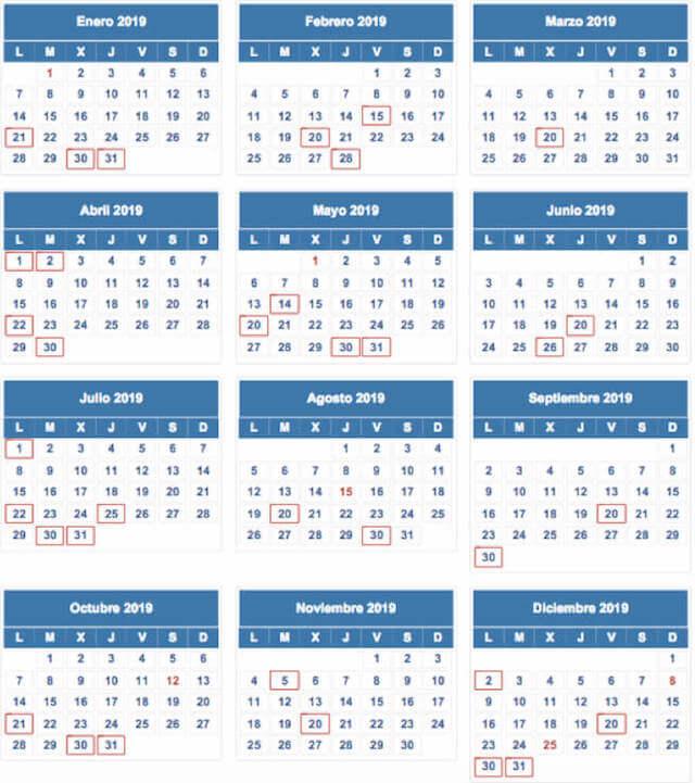 Calendario De Hacienda 2020.Calendario Del Contribuyente 2019 Autonomos Pymes Asepyme
